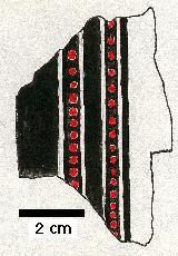Fragment malovaní na štítu z Ballateare na ostrově Man.