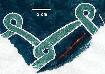 Fragment malovaní na štítu z Grimstrupu v Dánsku.
