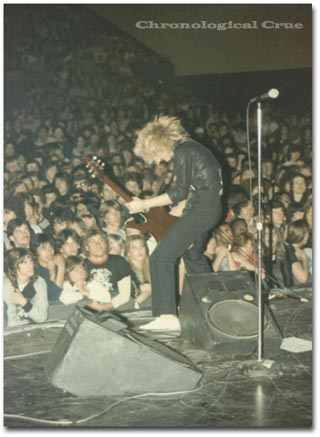 James in The Wigglers at New Year's Evil concert supporting Motley Crue 31/12/82