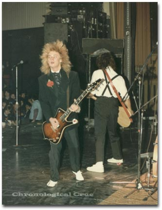 James and Joe in The Wigglers at New Year's Evil concert supporting Motley Crue 31/12/82