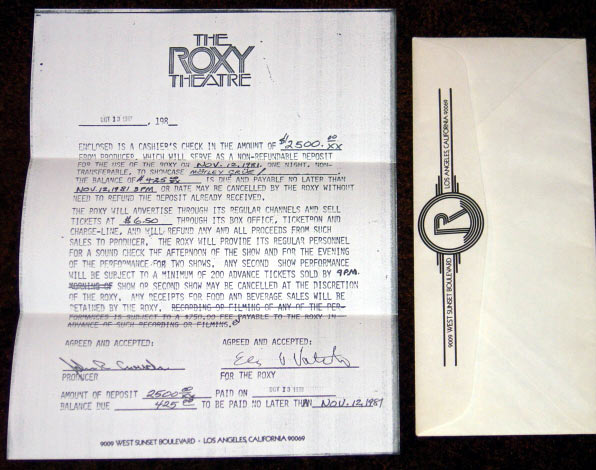 Motley Crue contract with The Roxy signed by John Crouch as Producer