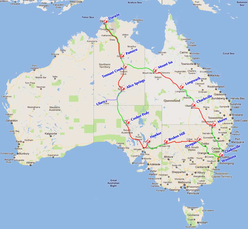 Road Map Of Australia With Distances – Driving Map of Australia